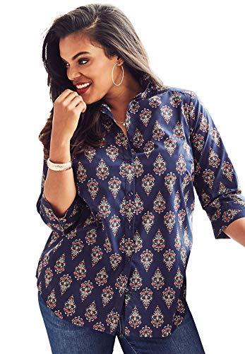 - Roamans Women's Plus Size Three-Quarter Sleeve Kate Shirt - Navy Ornate Medallion, 12 W