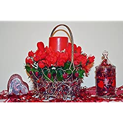 Valentine Day Decor, Valentine Basket, Floral Arrangement Table Decoration, LED Candle, Love You Bunches, Ready to Ship!