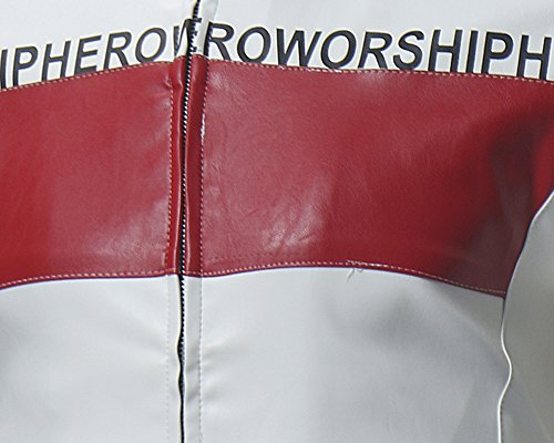 PU Cuero Hombre Cazadoras de Motocicleta Blanco Cremallera Para La Chaqueta de OHqzxFU