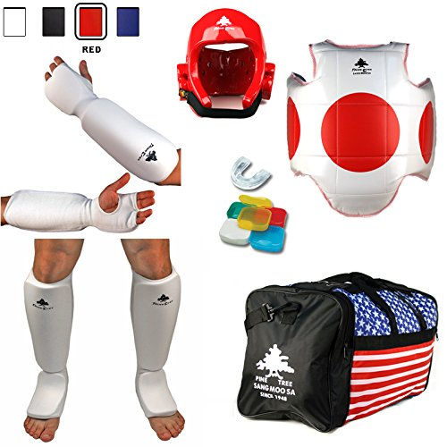 Pine Tree Complete Cloth Martial Arts Sparring Gear Set with Bag, Large Red Headgear, Large Other Gears ()