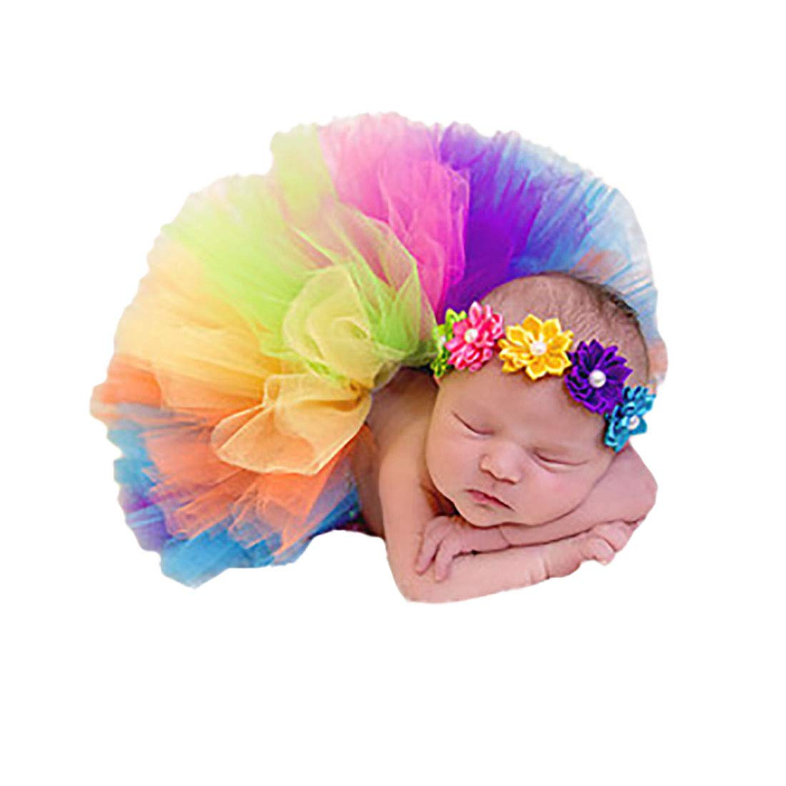 Boomly Baby Infant Newborn Photography Prop Rainbow Skirt + Elastic Floral Headband Photo Costume Outfits
