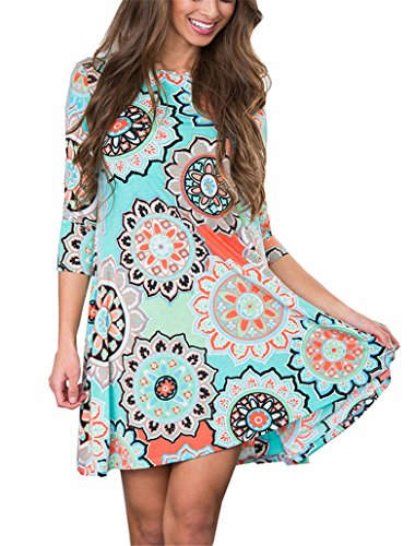 ANDUUNI Womens 3 4 Sleeve Print Tunic Shirt Dresses Round Neck Print...