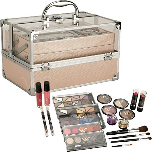 Girls Teens Starter Makeup Kit 24 pieces Pink 2 Trays Clear Top by Ver Beauty