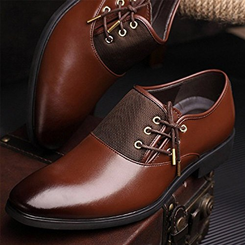 New 2018 Fashion Polyurethane Leather Dress Shoes for Men Formal Spring Pointed Toe Wedding Business Shoes Male with Lace (Men's 8.5 = Women's 9.5 / EU 42, Brown Gold Lace) by Jacky's Oxfords Shoes (Image #6)