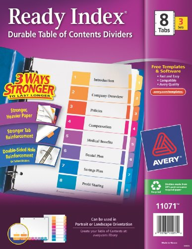 avery ready index table of contents dividers 8 tab set 3