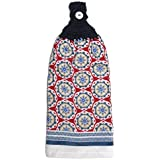 Nautical Style Red White Blue Tan Double Kitchen Cotton Hand Towel Crochet Top Handmade
