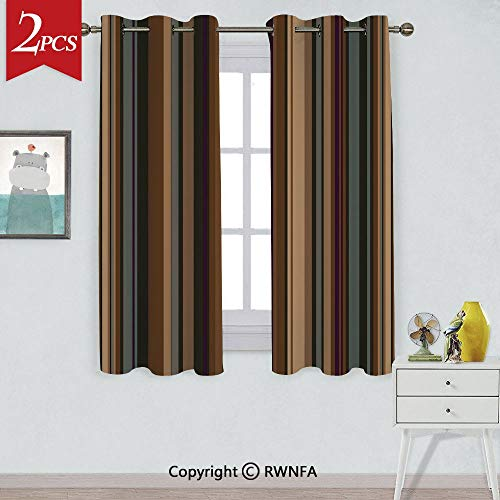 RWNFA Decorative Insulation Curtain,Retro Vertical Striped Background in Different Shades of Earthen Tones Image,2 Panels,Each Panel is,W52xL63 Inch,Tan Brown