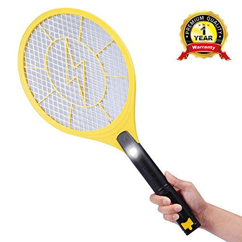 E-TRENDS 2nd Generation USB Rechargeable Electric Bug Zapper Fly Mosquito Swatter Racket with 3-layer Grid and LED Light, X-Large