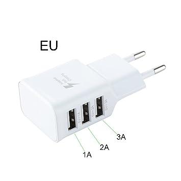 JYCRA USB cargador enchufe, 3 puertos adaptador de ...