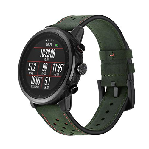 Outsta For Amazfit Stratos Smart Watch 2/2S Watch Band,Leather Watch Band Wrist Straps Bracelet Accessories Fashion Smart Watch Band Women Men (Army Green)