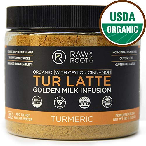 TUR LATTE - USDA ORGANIC CERTIFIED GOLDEN MILK POWDER WITH CEYLON CINNAMON - Turmeric Latte Mix - Golden Milk Tea - Anti-Inflammatory, Non-GMO, Vegan, Gluten-free, Unsweetened (45 servings)