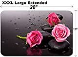 MSD Large Table Mat Non-Slip Natural Rubber Desk Pads Image 24288592 Spa Stone and Rose Flowers Still Life Healthcare Concept