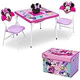 Juego de muebles de 4 piezas para niños de Delta Children (mesa de almacenamiento con 2 sillas y caja de tela para juguetes), Disney Minnie Mouse