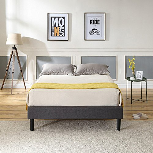 Classic Brands DeCoro Claridge Upholstered Platform Bed | Metal Frame with Wood Slat Support | Grey, King