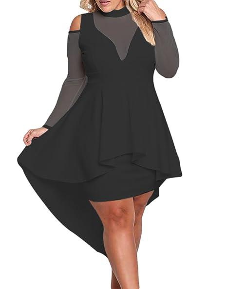 Lacoco Women Plus Size Mesh Trim Hi Lo Peplum Bodycon Dress Sexy