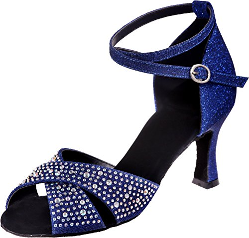 Shoes 3IN Ankle Sudue PU Dance Womens Soft Sole Rhinestone Glitter Peep Professional Toe Straps Nice Blue Find q0IZwvzv