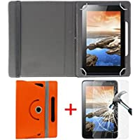 "Hello Zone Exclusive 360° Rotating 7"" Inch Flip Case Cover + Free Tempered Glass for iBall Slide Snap 4G2 Tablet -Orange"