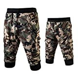 WUAI Mens Cargo Shorts Casual Camouflage Printed Outdoors Loose Gym Fitness Jogging Elastic Sweatpants(Green,US Size 2XL = Tag 3XL)