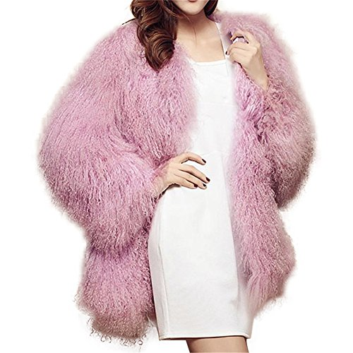SPRINGWIND Genuine Mongolian Lamb Fur Coat Long Sleeve Waistcoat Jacket Outwear For Women