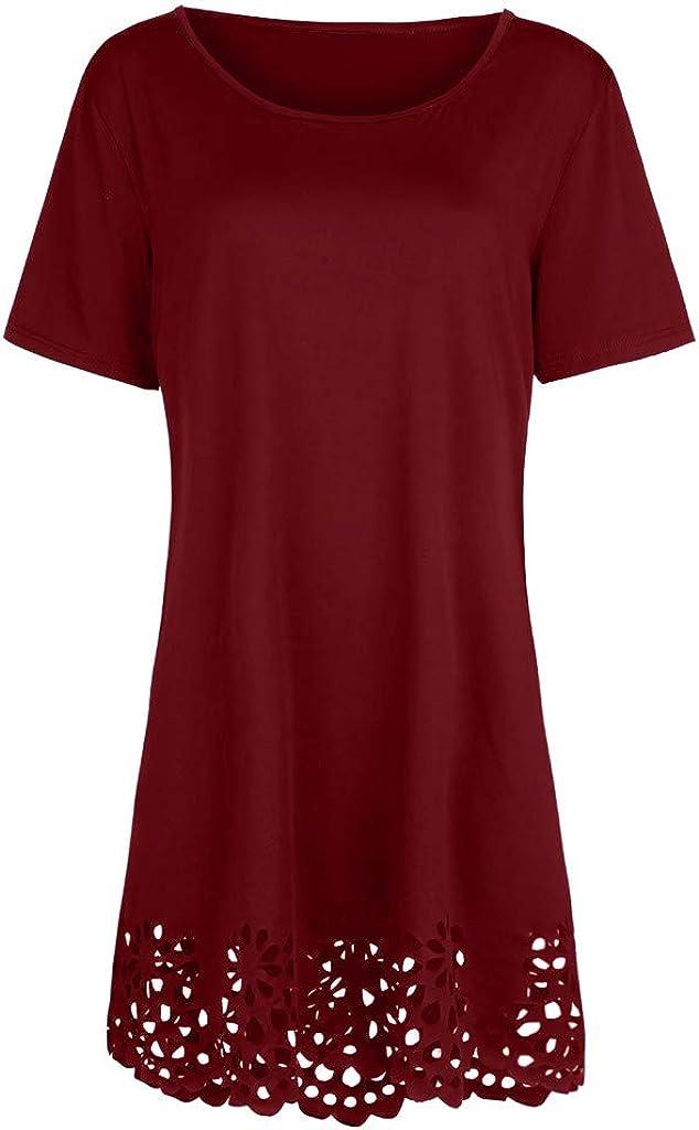 WENOVL Plus Size Dresses,Plus Size Fashion Women Solid Short Sleeve O-Neck Hollow Out Casual Dress