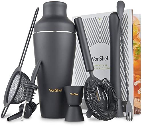 VonShef Premium Matte Black Parisian Cocktail Shaker Barware Set in Gift Box with Recipe Guide Accessories