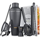 #10: VonShef Premium Matte Black Parisian Cocktail Shaker Barware Set in Gift Box with Recipe Guide & Accessories