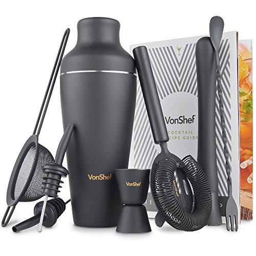 VonShef Premium Matte Black Parisian Cocktail Shaker Barware Set in Gift Box with Recipe Guide & Accessories Review