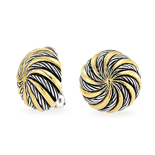 (Geometric Swirl Two Tone Round Button Disc Clip On Earrings Non Pierced Ears Black Oxidized Sliver Gold Plated)