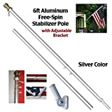 6ft Aluminum Spinning Stabilizer Pole (Silver) Flag Pole Gold Ball w/ Bracket