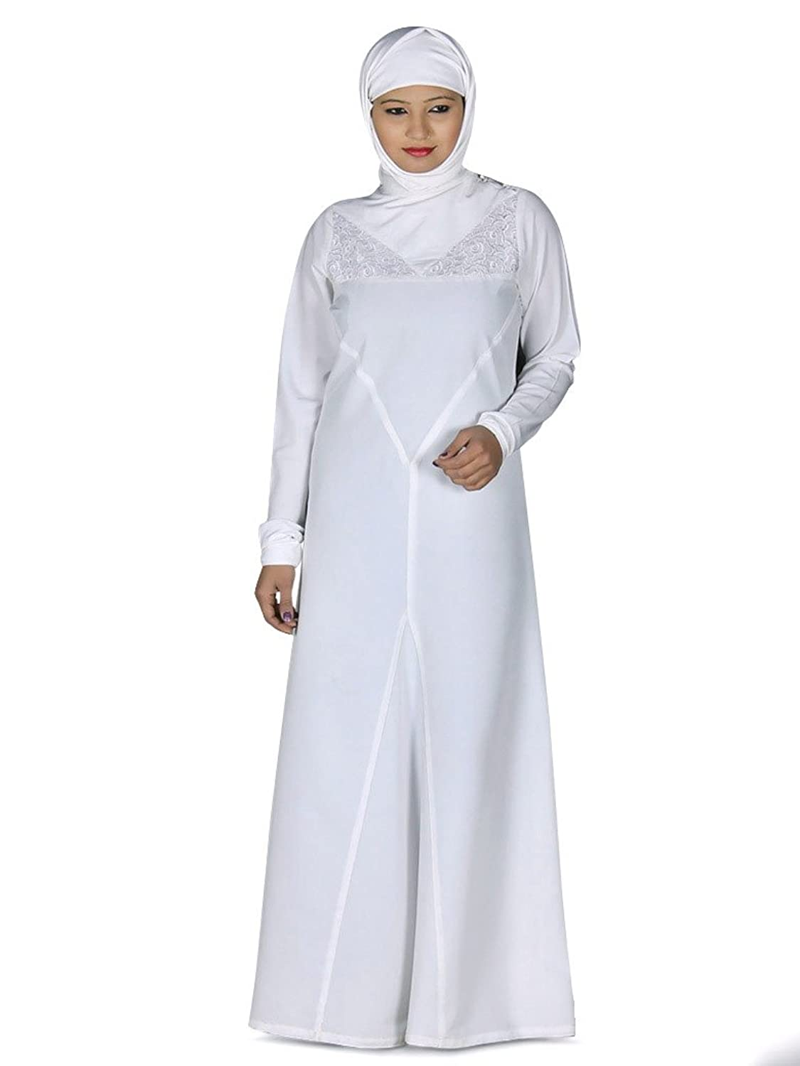 MyBatua Women's Islamic Dress Trendy Zeenat Abaya in White