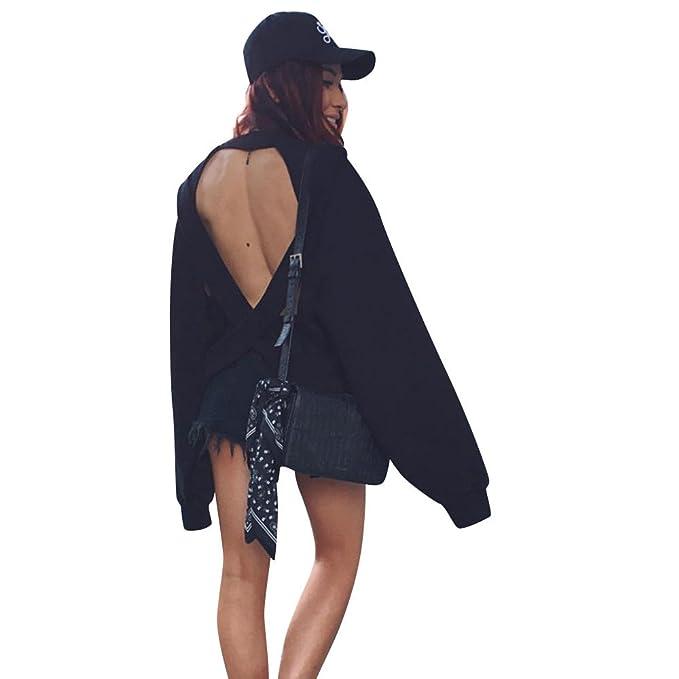 Sudadera para Mujer,Moda Sexy Manga Larga Casual Espalda Abierta Color Sólido Sudaderas Invierno Cuello