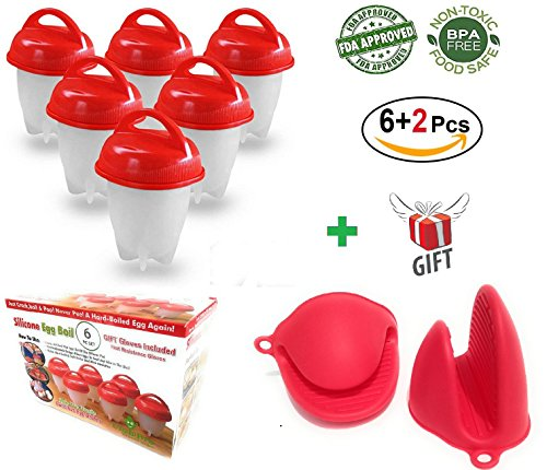UnzipBro Egglettes Silicone Egg Cooker Set for Soft and Hard Boiled Eggs   Safe Non-Stick Egg Poachers Set with no BPA  6 Pack of No Shell Egg Boiler Pods   Bonus 2 Pc Pinch Oven Mitts (Poacher Set)