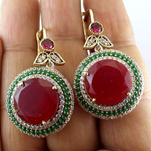 Dome Shape Ruby Red Emerald Silver Plated Dangler Russian Hook Earring for women ()