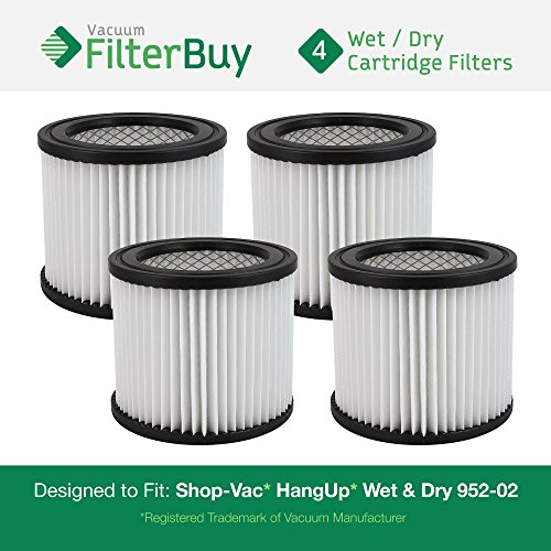 4 - FilterBuy Shop-Vac 9039800, 903-98-00, 90398 Vacuum Cleaner Filters. Designed by FilterBuy to fit Shop-Vac H87S550A, 587-24-62, E87S450, 587-04-00, 286-00-10, 962-15-00, 394-20-00, and SP650C.