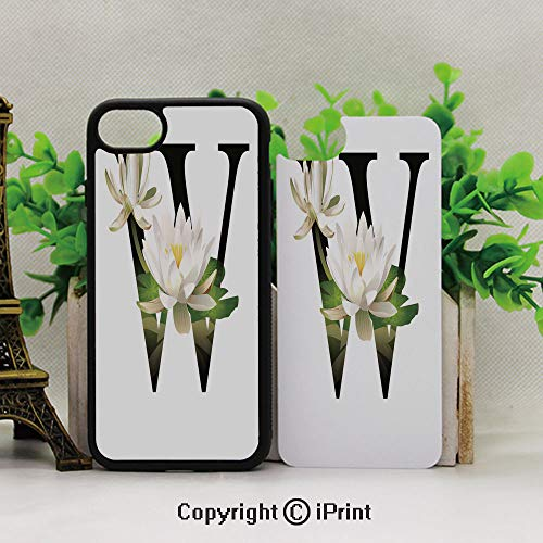 iPhone 8 Plus/iPhone 7 Plus Case,Avoid Scratches and dust,Water Lily Flower Arrangement Nature Inspired Alphabet Design Floral Print DecorativeWhite Green ()