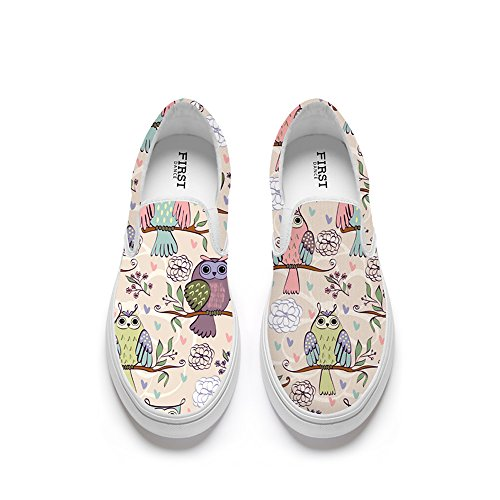 FIRST DANCE Funny Animal Printed Shoes Women Loafers Flats Fashion Slip on Shoes for Women Lion Fox Shoe Cute Eagle
