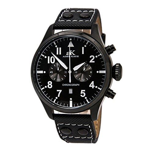 Adee Kaye AK7234-M Men's Black IP Classic Retro Chronograph Watch Leather Band