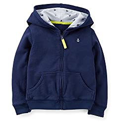 Carter's Little Girls' French Terry Jersey Lined Hoodie (6, Navy)