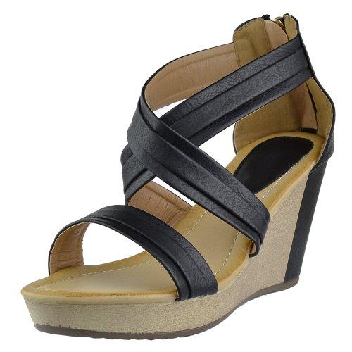 Womens Platform Sandals Cross Strap Two Tone High Shoes Wedge Shoes High Black Parent B00KGVLIIG d16747