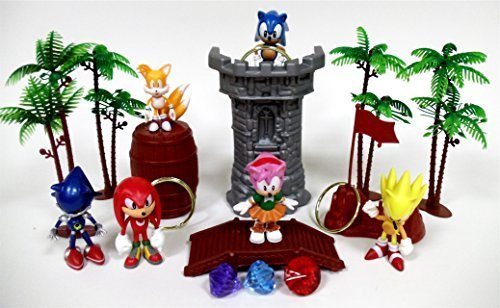 SONIC 18 Piece Play Set Featuring Random Sonic Figures and Accessories - May Include Super Sonic, Amy Rose, Miles, Tails Prower, Sonic, Metal Sonic and -