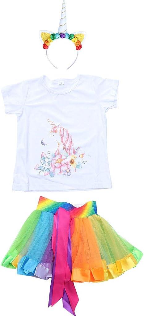 LIOOBO Unicornio Traje Conjunto Unicornio T Shirt Rainbow Tutu ...