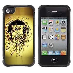 LASTONE PHONE CASE / Suave Silicona Caso Carcasa de Caucho Funda para Apple Iphone 4 / 4S / owl bird yellow tattoo black ink painting