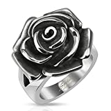 STR-0068 Stainless Steel Single Rose Cast Band Ring