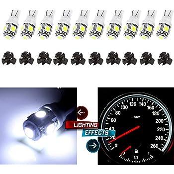 CCIYU (10)T10 5-5050-SMD PC194 LED Bulb Instrument Panel Cluster Dash Light Twist Lock Socket (white)
