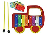 D'Luca YSQCH Kids Red Truck Baby 8 Note Xylophone Glockenspiel with Music Cards
