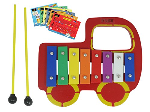D'Luca YSQCH Kids Red Truck Baby 8 Note Xylophone Glockenspiel with Music Cards by D'Luca