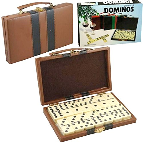 Domino Double Six - Ivory and Black Tilex with Metal Spinner