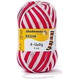 REGIA 4-fädig Color 9801269-05392 rot/weiß Handstrickgarn, Sockengarn, 100g Knäuel