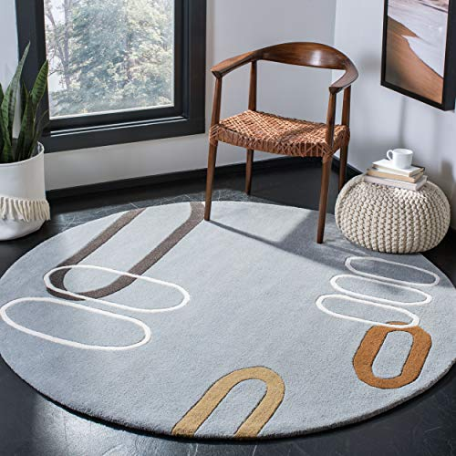 Safavieh Soho Collection SOH801B Handmade Modern Abstract Blue and Multi Premium Wool Round Area Rug 6 Diameter