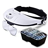 Illumination Headset | Superb Headband LED Lamp Light with 5 Prime Grade Magnifier PC Lens for Reading or Micro Works, Adjustable to Fit Any Head Size, Black and White